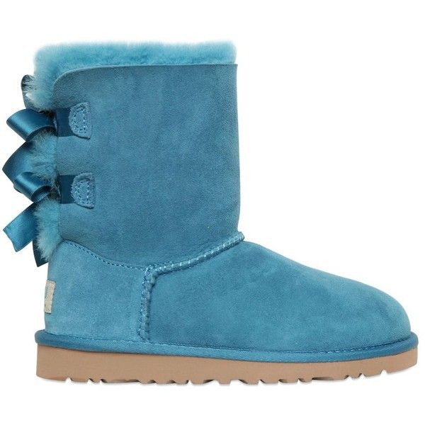 UGG AUSTRALIA Bailey Bow Shearling Boots - Petrol ($135) ❤ liked on Polyvore featuring shoes, boots, uggs and petrol