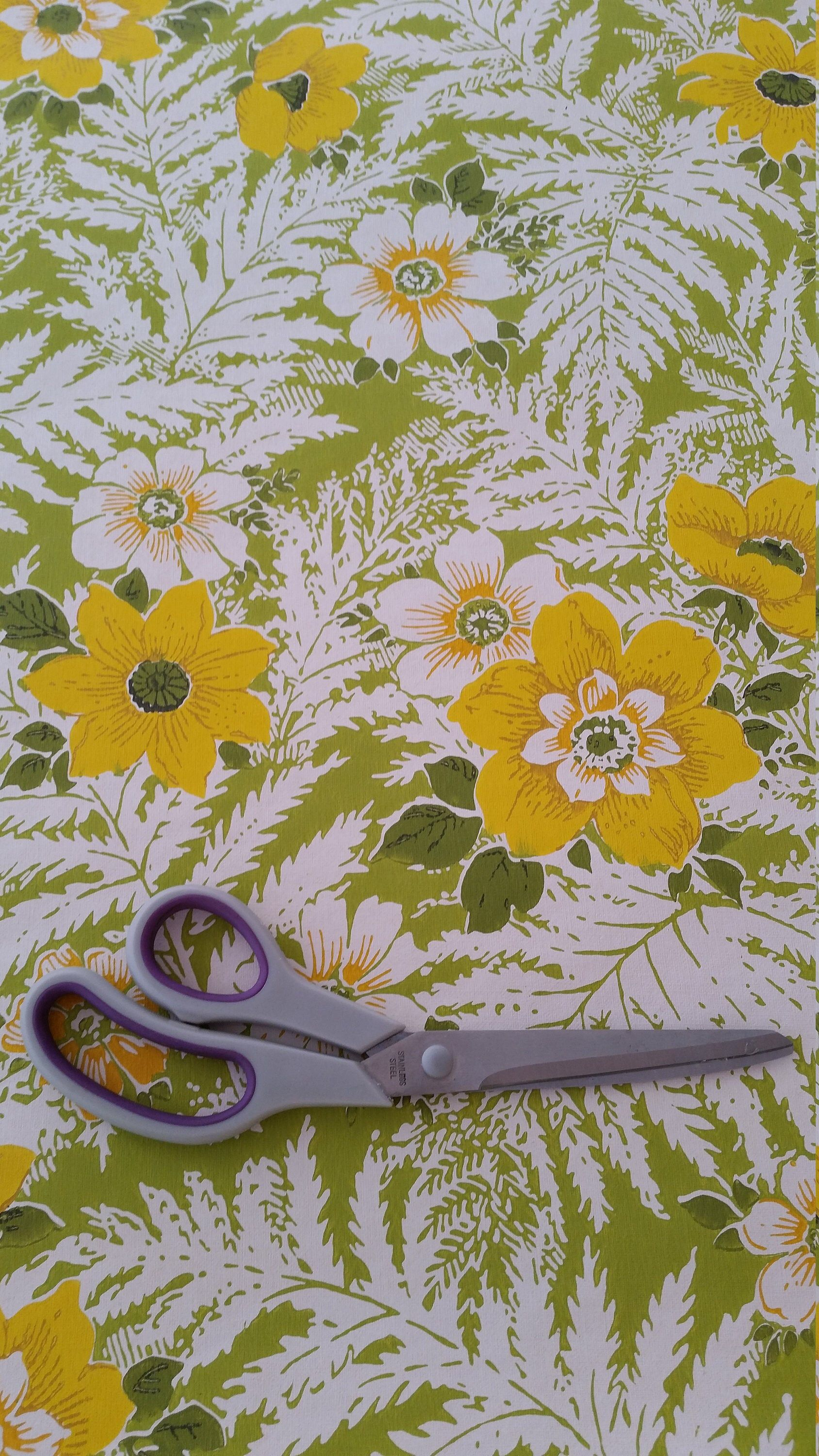 Vibrant green and yellow floral retro vintage 1960's