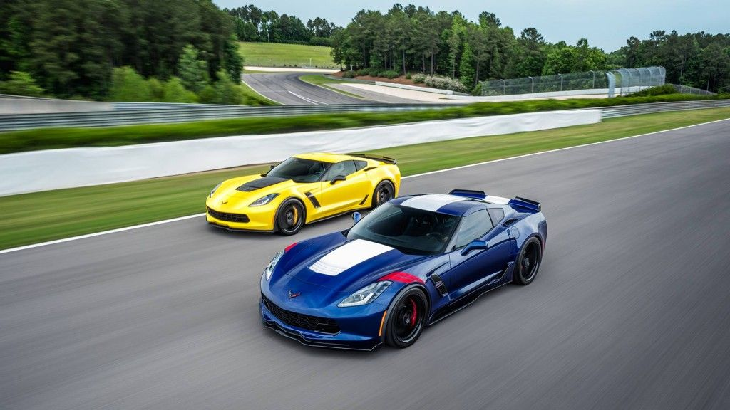 Two 2017 Corvette Grand Sport sports cars next to each