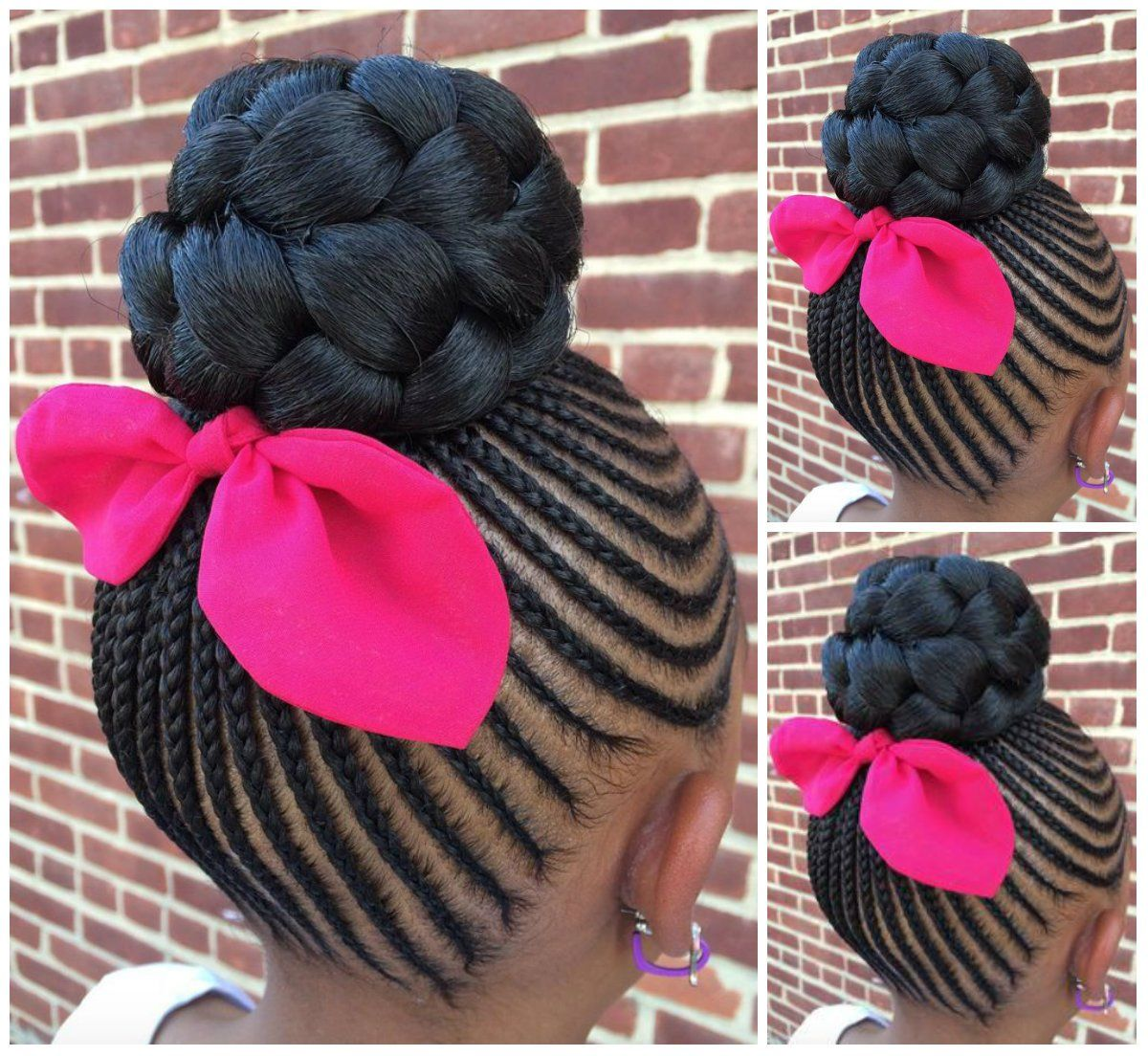 Check Out These Braided Cornrows With Buns For Little Black Girls And Get Inspiration O Black Natural Hairstyles Kids Braided Hairstyles Little Girl Hairstyles