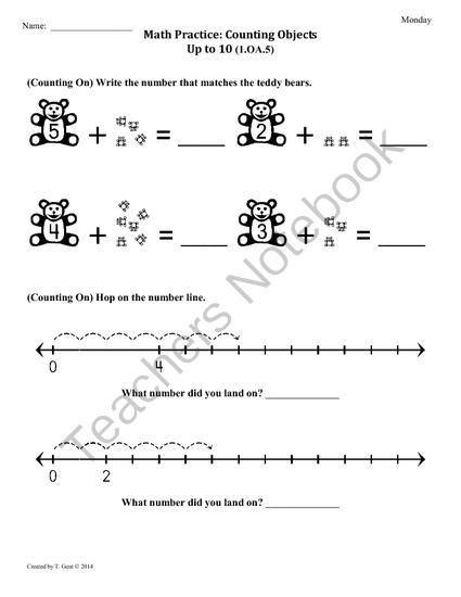 1.OA.5) Counting On -1st Grade Common Core Math Worksheets-1st 9 ...