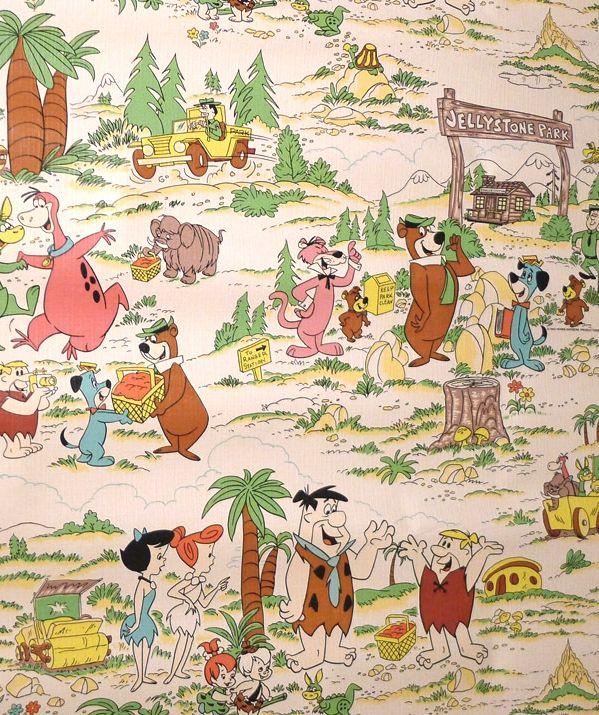 Vintage Wallpaper With Flintstones Snagglepuss Yogi Bear Boo Boo