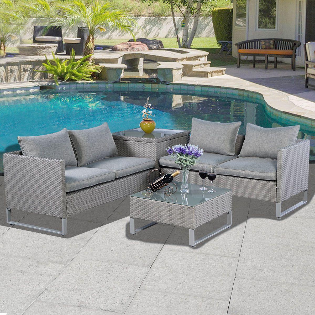 4 pcs Rattan Patio Sofa Cushioned Seat