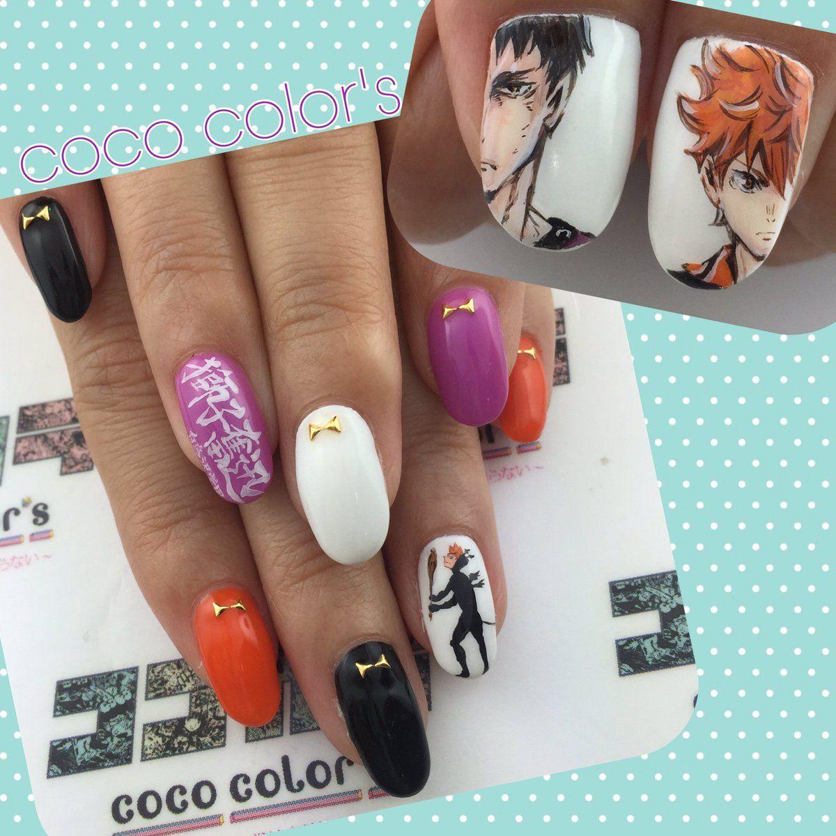 Anime nail art Haikyuu Hinata - ハイキュー!!(Haikyū!!) : Character Nail Art Nail Catoon