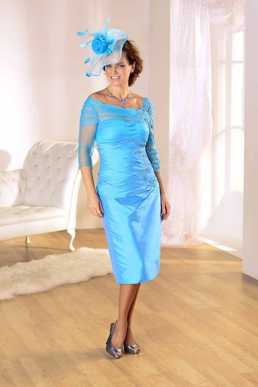 Irresistible Azure Blue Dress finished with exquisite Lace Detail ...