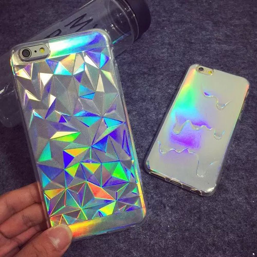 3d diamond bling laser smelten regenboog print case voor fundas iphone 5 s 5 6 6 plus 6 s hologram iriserende driehoek pastel gevallen