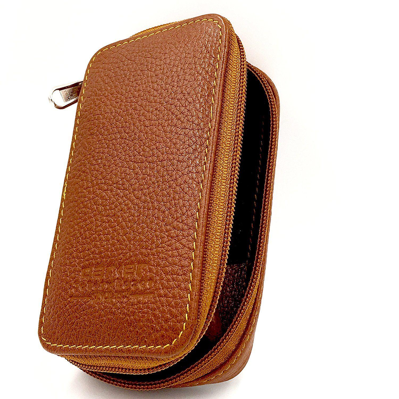 Genuine Leather Double Edge Safety Razor Zippered Travel