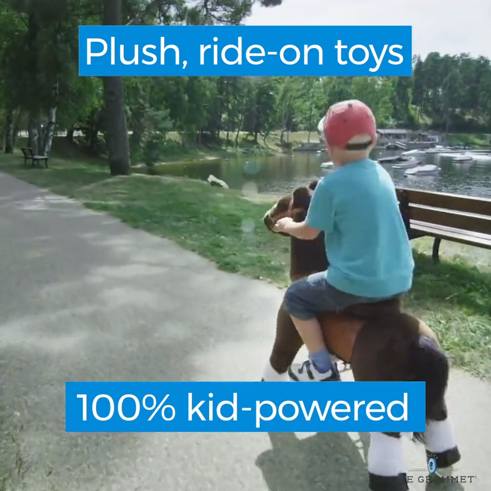 Kid-power provides the giddy-up for this plush riding horse toy. It's easy to move and steer, and will