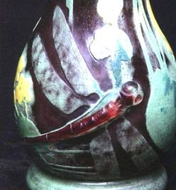Daum Nancy Glass; Cameo, Vase, Dragonflies, Applied & Wheel-Carved, 12 inch.