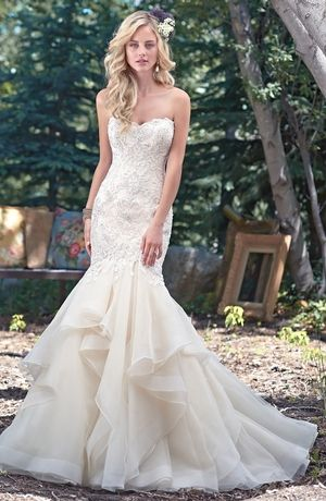 Strapless Mermaid Wedding Dress with Dropped Waist in Beaded ...