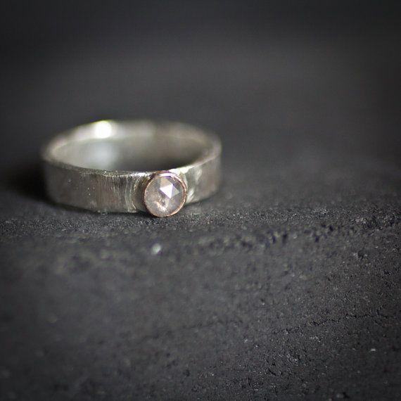 White Natural Rose Cut Diamond ring - Mixed Metals ready to ship