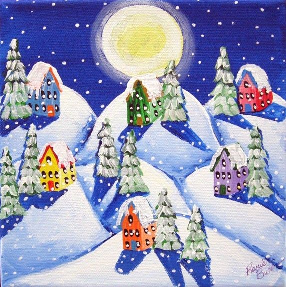 Silent Night Winter Snow Moon Painting ~ by Renie Britenbucher