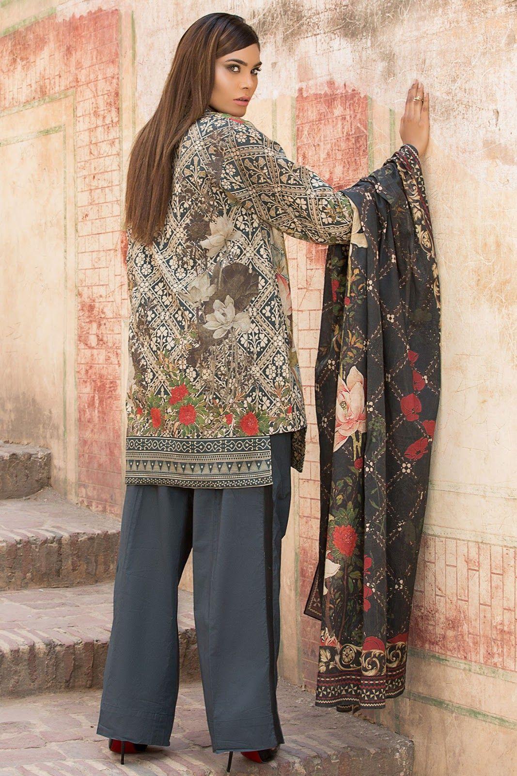 697b2ee544 Alkaram Studio 2 Piece Digital Printed Unstitched Shirt & Dupatta  DCD-13-BLUE with model Zara Abid