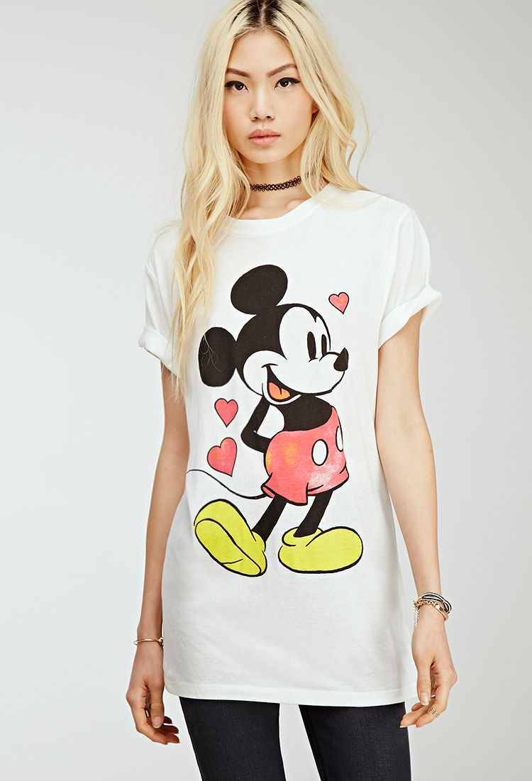 9c71e6443 Longline Mickey Mouse Tee - VALENTINE'S DAY SHOP - 2000096877 - Forever 21  UK