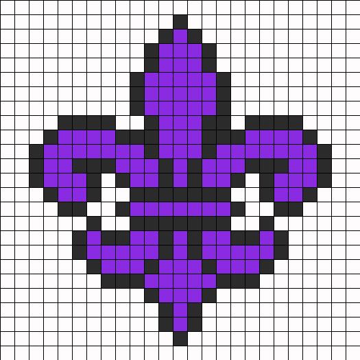 Purple Saints Row Fleur De Lis Perler Bead Pattern Bead