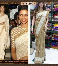 14d432af2ee6b6 Buy Deepika In Beige Georgette Embroidered Saree With Blouse deepika- padukone-saree online
