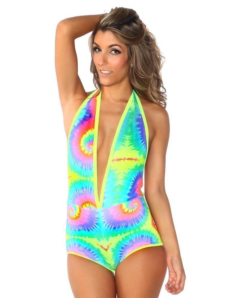 iHeartRaves UV Tie Dye Halter Bodysuit Romper Sexy Rave Wear EDM Festival  Outfit  iHeartRaves c5403d27e