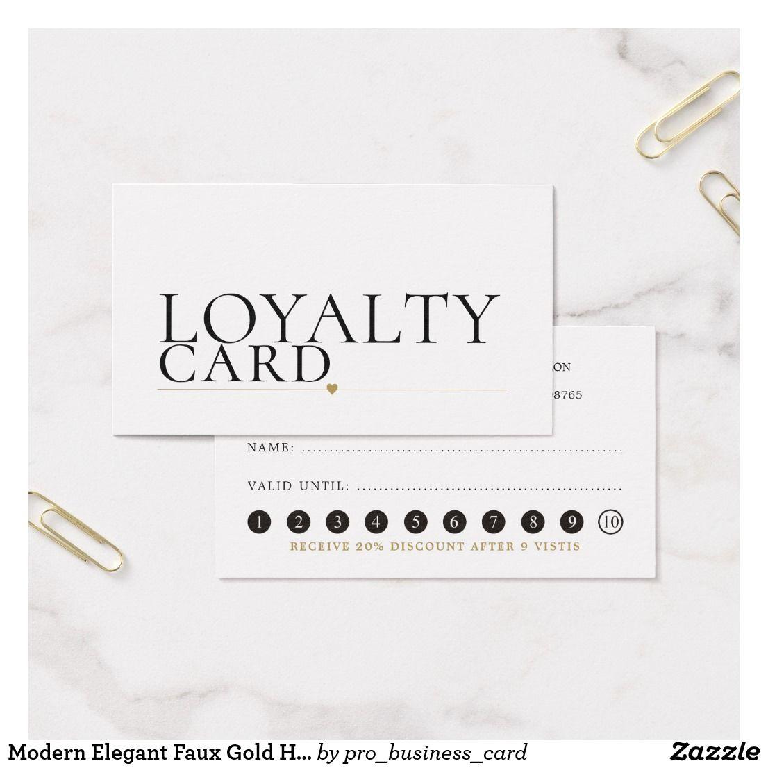 Modern Elegant Faux Gold Heart Line Beauty Loyalty Zazzle Com Loyalty Card Design Customizable Business Cards Templates Loyalty Card
