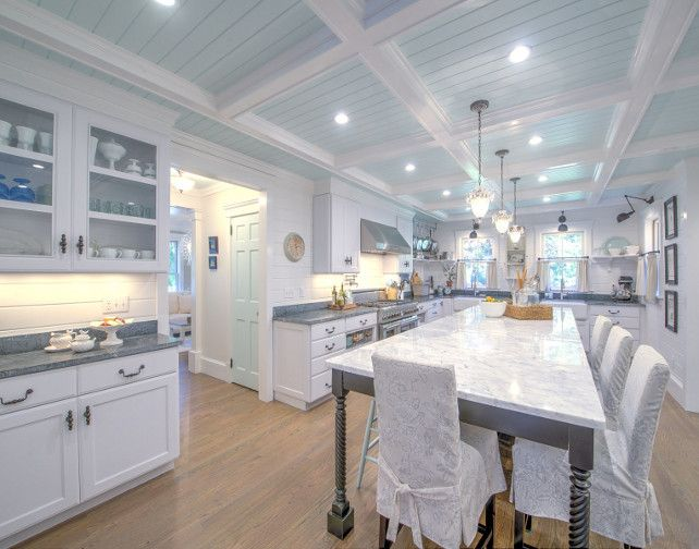 Shingle Cape Cod Home With Blue Kitchen Ceiling Home Bunch An Interior Design Luxury Homes Blog Cape Cod House House Of Turquoise Kitchen Ceiling
