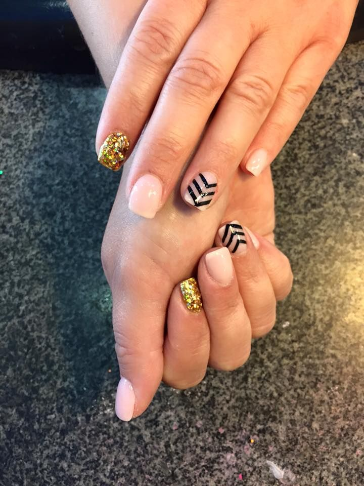 No chip powder manicure with chevron design and sparkle accent ...