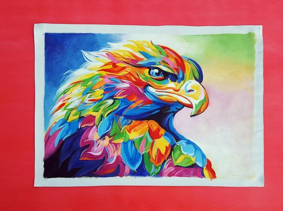 Hand Painted Impressionist Eagle Painting On Canvas Modern