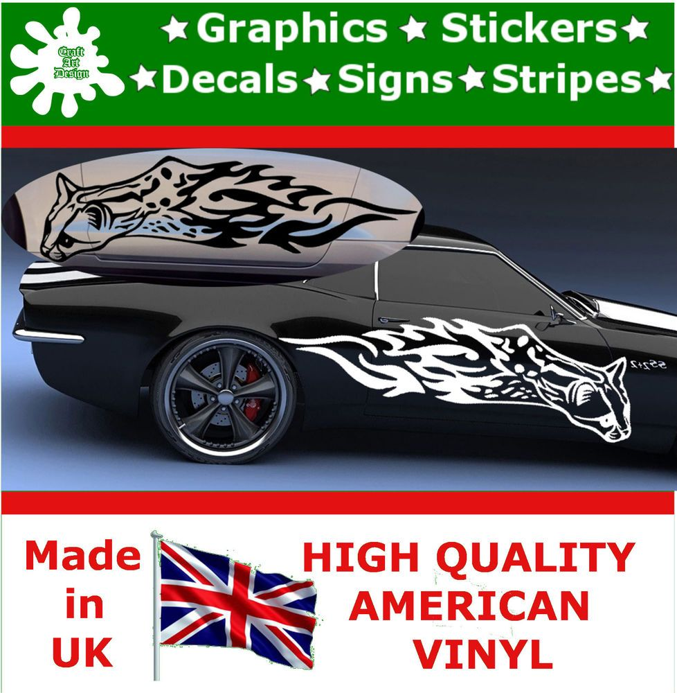 Car sticker design fire - Details About 2 X Large Car Side Cat Fire Flame Stickers Graphics 4x4 Decals Vinyl Wall 80