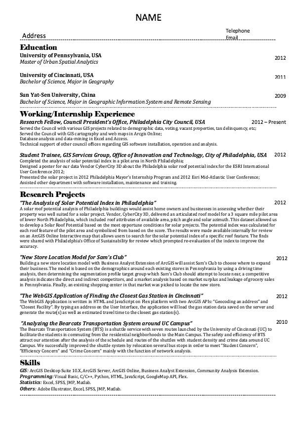 Geographic Information System Engineer Sample Resume Resume Sample For Pennsylvania University  Httpresumesdesign