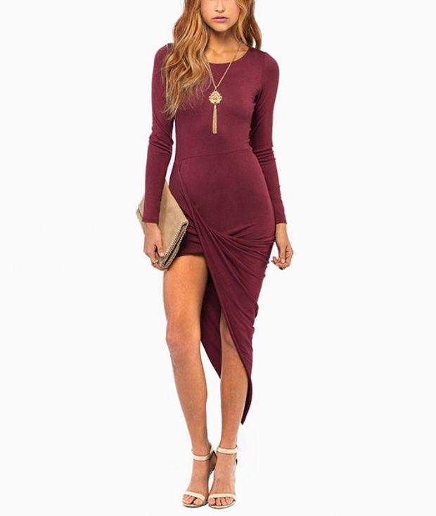 Drape Detail Bodycon Dress in Black   Elegant knee length