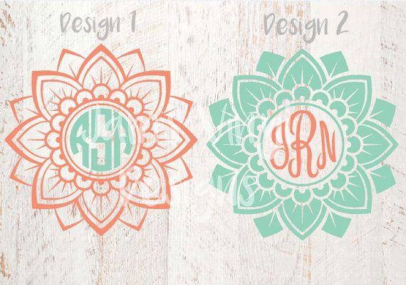 Mandala Flower Monogram Decal Mandala by JamsVinylDesigns on Etsy