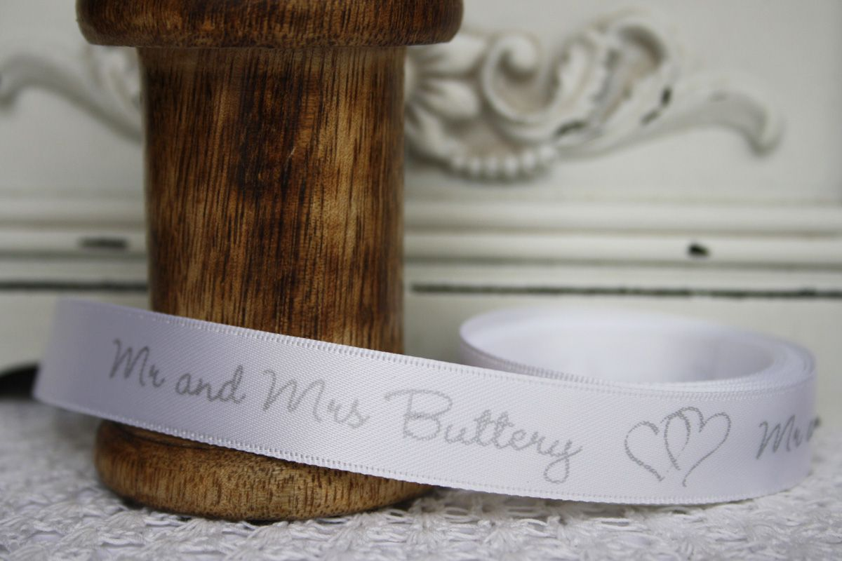 Personalised Wedding Ribbon White Silver