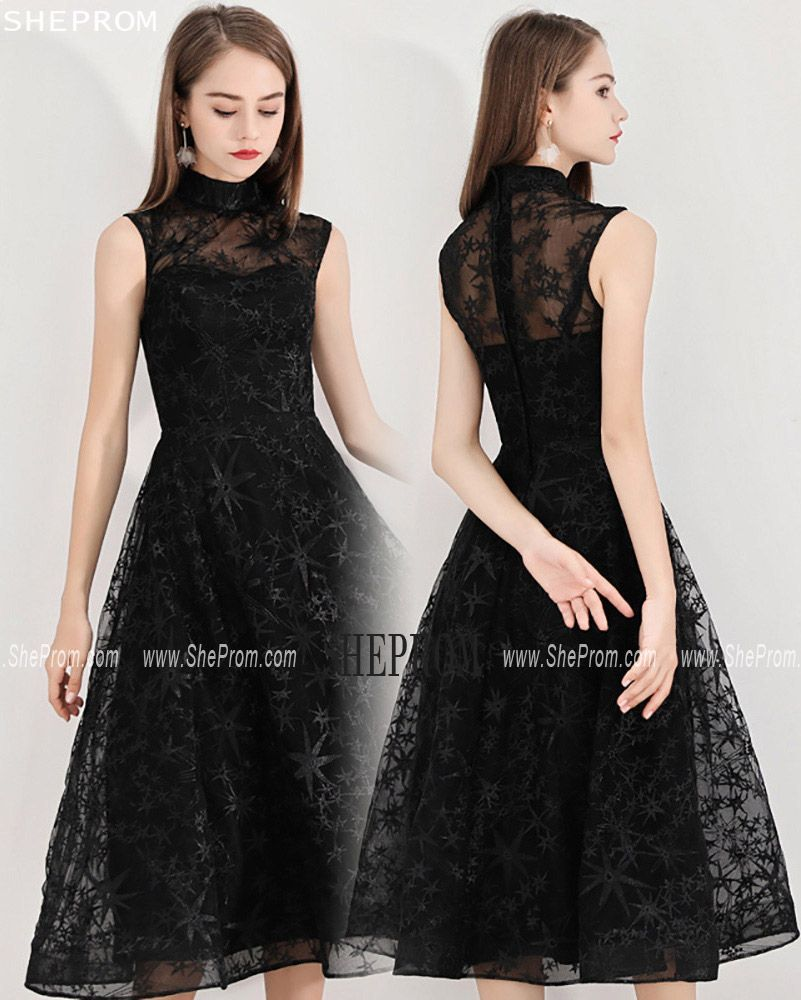 Retro Black Lace High Neck Midi Length Party Dress Sleeveless Midi Length Party Dresses Black Homecoming Dress Trendy Dress Styles [ 1000 x 801 Pixel ]