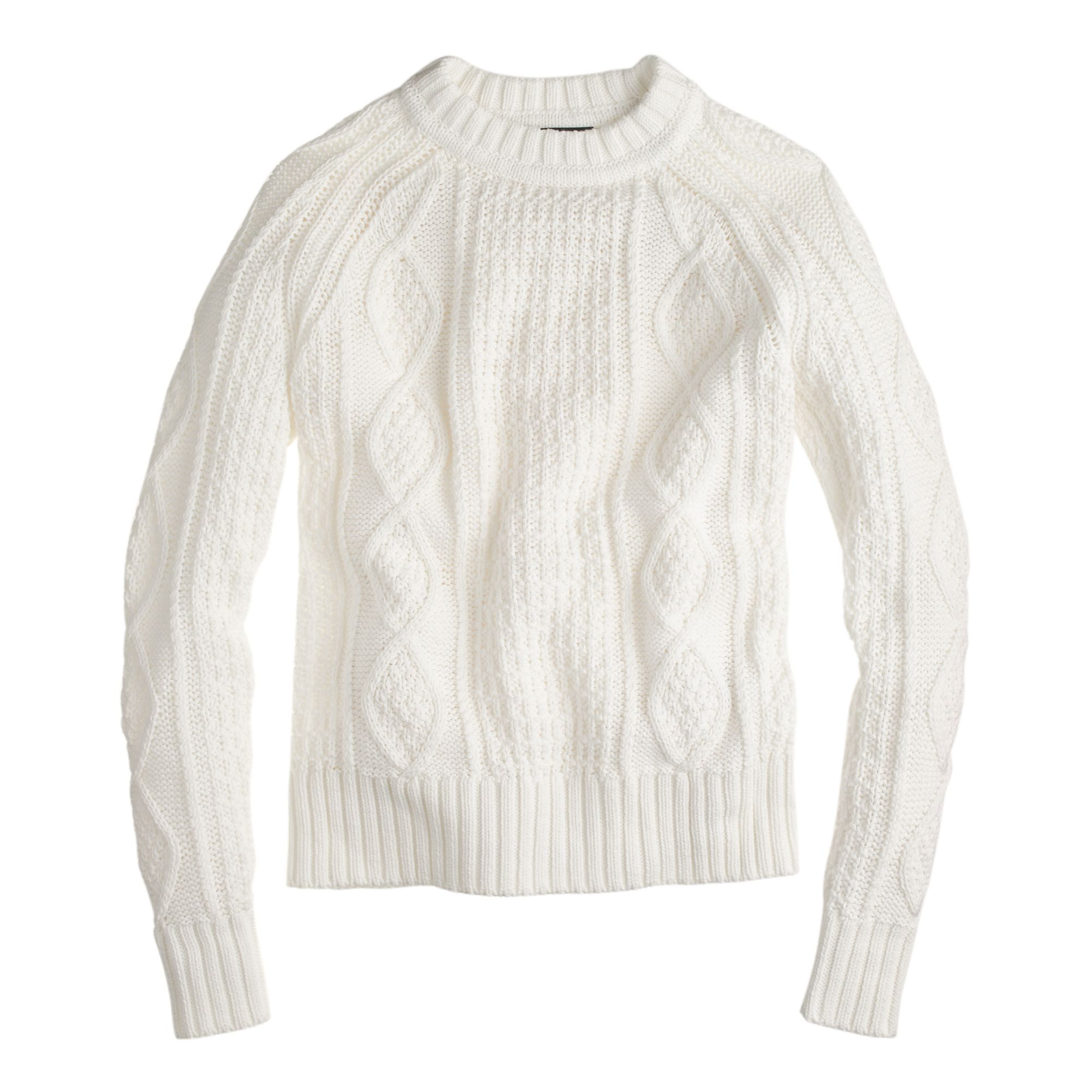 J.Crew women's cotton cable sweater in ivory. | My Style ...