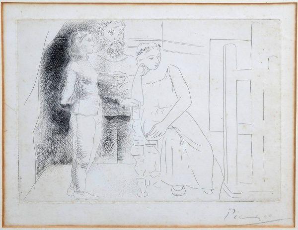 """Pablo PICASSO (1881 - 1973 ) """" Cena mitológica """" gravura em metal, 24 x 31 cm. Assinado no c"""