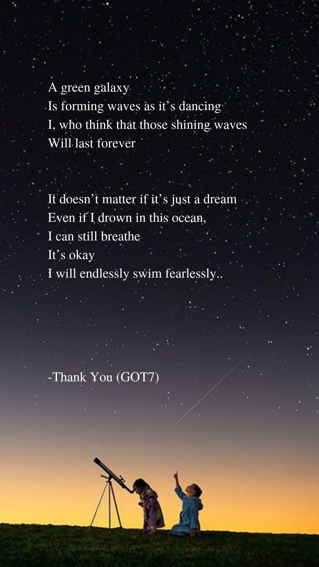 Thank You by GOT7 Lyrics wallpaper Pop lyrics, Song