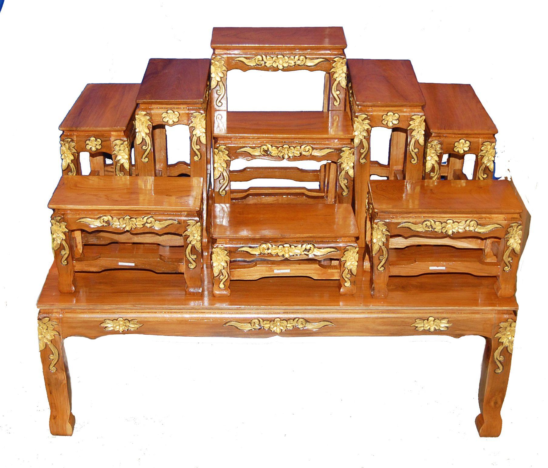 Buddhist Altar Table Set-39 | Buddhists, Altars and Teak