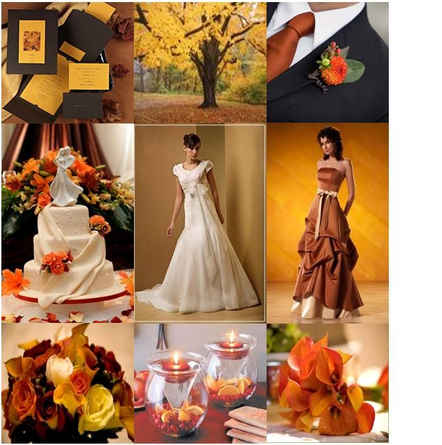 Burnt Orange Brown Fall Wedding Favors And Decoration Ideas
