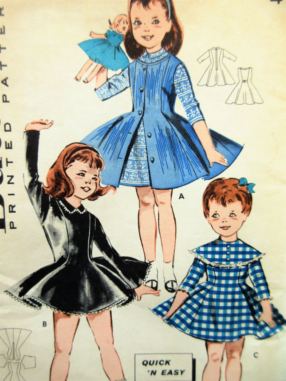 Vintage Butterick 9125 Sewing Pattern, Little Girl\'s Dress Pattern ...