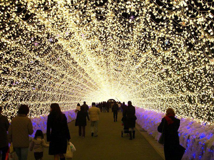 Millions Of Led Lights Transform Japanese Botanical Garden Into A Winter Wonderland Nabana No Sato Light Tunnel Light Installation