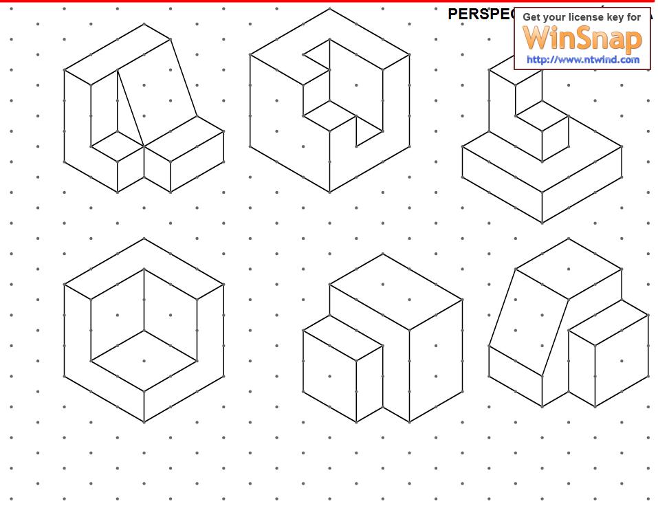 ejercicios de perspectiva a partir de trama isometrica