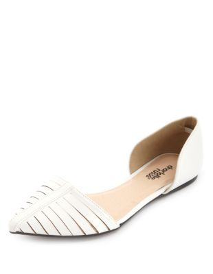 slit pointy toe d'orsay flats. These are so cute! Want them in black,too!
