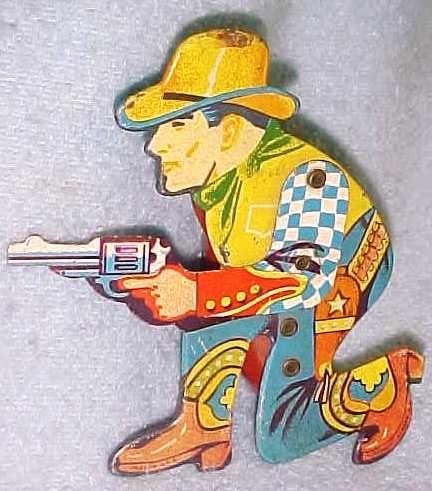 Tin Litho Cowboy Clicker Toy Old Toys Antique Toys