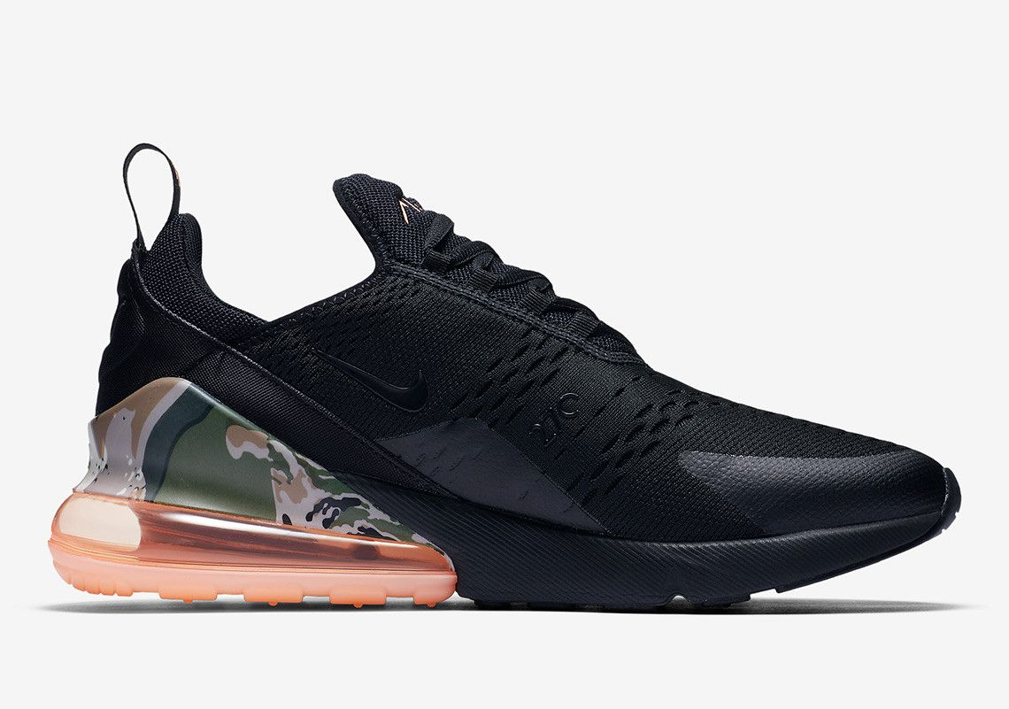 Nike Air Max 270 Camo Print Heel Bubble Aq6239 001 Coming Soon Sneakernews Com Nike Air Max Camo Shoes Air Max 270