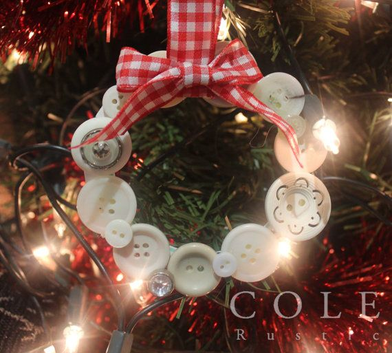 Rustic Christmas Tree Decoration  White by ColeRustic on Etsy  Tags:  Christmas, Gingham, Rustic, Scandinavian, Xmas, Red, Cosy, Wreath, Love, Cosy Christmas, Handmade, DIY, Homemade, traditional, Decoration, Ornament, Home