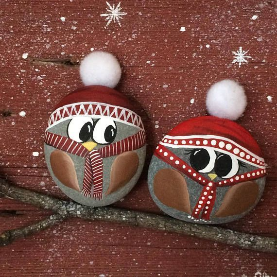 These adorable owls are painted by hand on round stones which are   These adorable owls are painted by hand on round stones which are