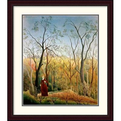 Global Gallery 'A Stroll in the Woods' by Henri Rousseau Framed Painting Print Size: