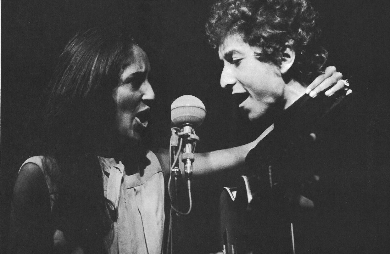 Bob Dylan on stage with Joan Baez - Newport Folk Festival  24 July 1964