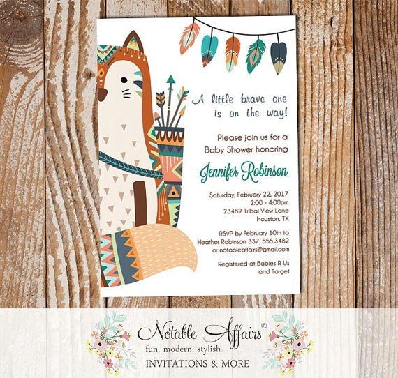 Brave One Tribal Woodland Indian Fox On The Side Baby Shower