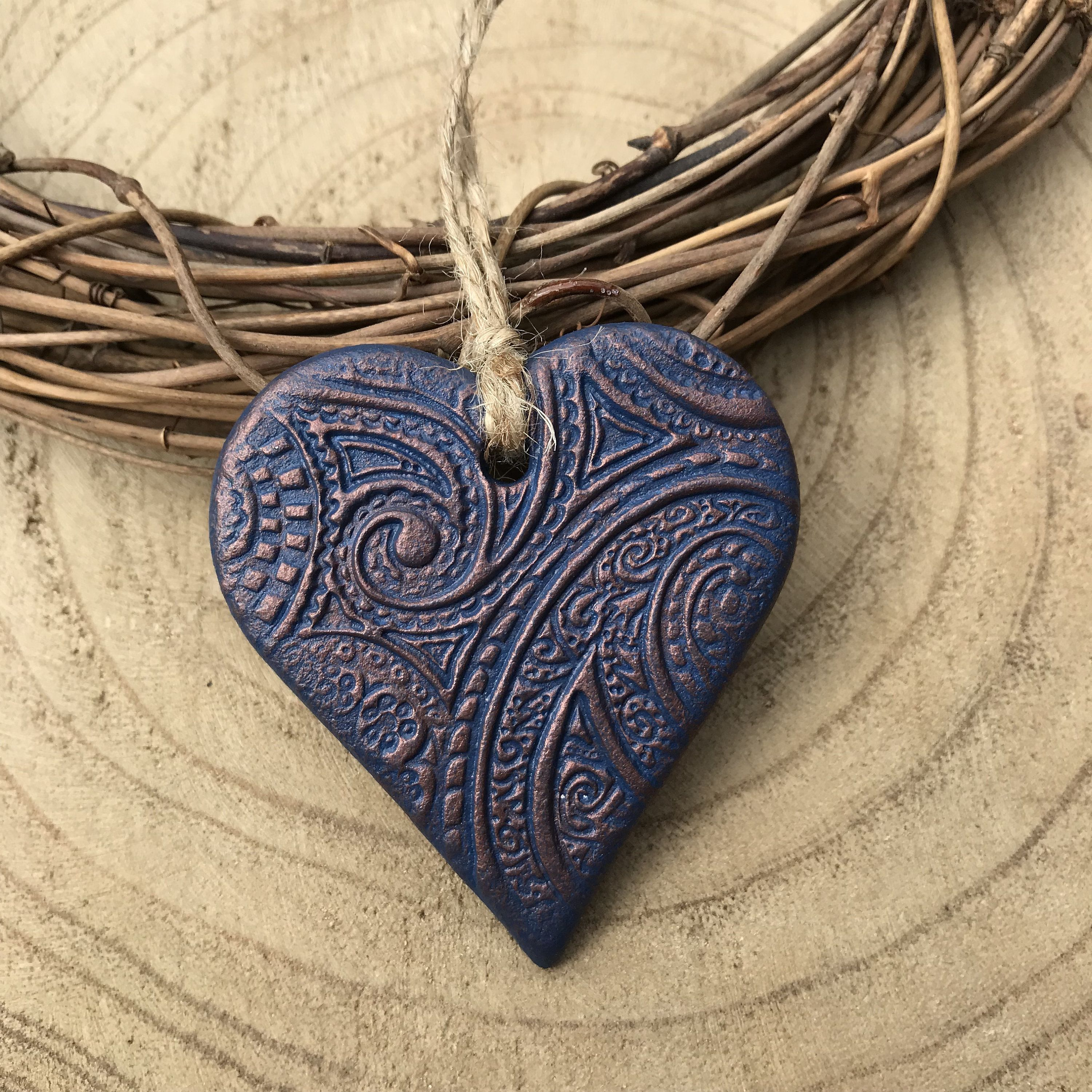 Hanging Heart Decoration Navy And Copper Heart Heart Tag Clay Heart Heart Gift By Ellomellomakes On Polymer Clay Jewelry Clay Crafts Air Dry Clay Jewelry