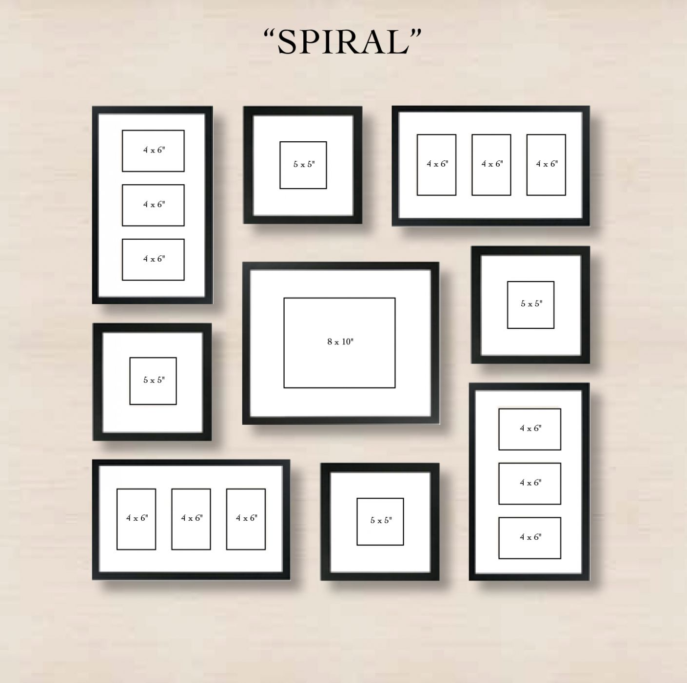 Spiral Gallery Wall Layout Tip Start With Placing The Center In 8x10 Picture Frame Arrangements Gallery Wall Layout Gallery Wall Photo Wall Gallery