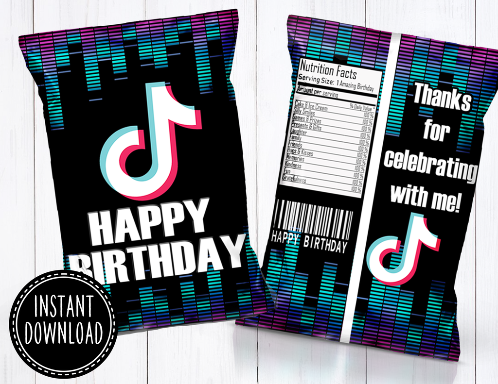 Tik Tok Chip Bag Instant Download Birthday Party For Teens 12 Year Old Birthday Party Ideas 12th Birthday Party Ideas